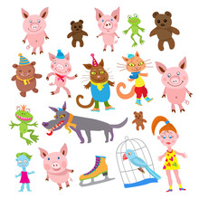 Set Of Cartoon Animals In Clot...