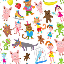 Seamless Pattern Of Vector Cartoon Animals In Clothes Isolated On A White Background.Funny Beasts, Frogs, Dogs, Cat, Pigs, Parrot, Doll , Zombie Girl, Banana, Strawberry, Green Apple..Wallpaper Print