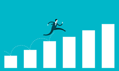 Business growth concept. Businessman jump over growing chart