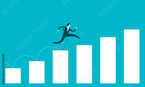 Fototapeta Business growth concept. Businessman jump over growing chart obraz