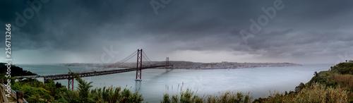 Photo  Bridge to Lisbon, named Ponte 25 de Abril, also called the sister bridge of the