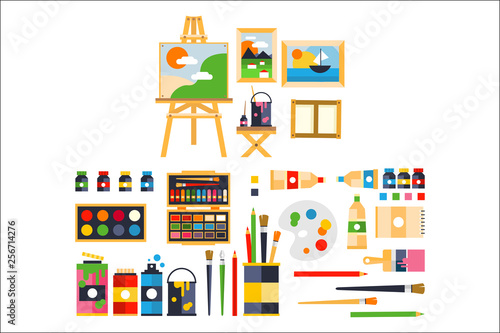 Fotografia Artist painting tools and artistic materials for painting and creature set vecto