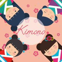 Japanese Kokeshi Doll In Kimono