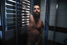 A Bearded Guy With A Tattoo In The Shower.Sexy Guy In The Shower.