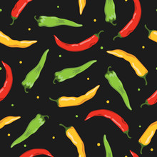 Colorful Seamless Vegetable Pattern With Hot Chili Peppers On Dark Background.
