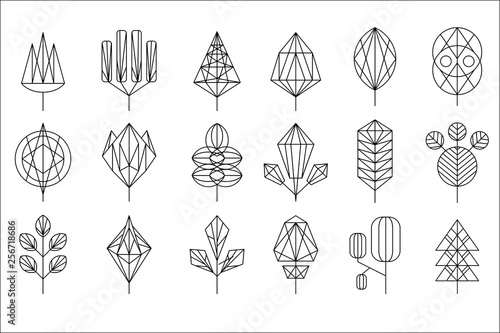 Foto Geometrical leaves and trees big set, collection of graphic design elements vect