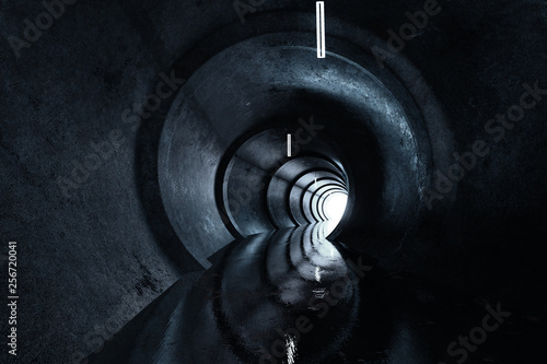 Fotomural  3d rendering of concrete round tunnel with light at the end