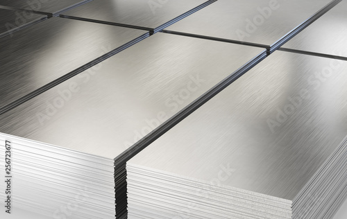Carta da parati Steel sheets. Piles of steel metal in stock. 3d illustration.