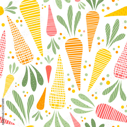 Fototapeta Seamless vector pattern with cute carrots
