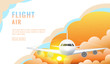 Landing page design, banner with flying airliner in sky with clouds, passenger aircraft, plane, tourism concept, vector