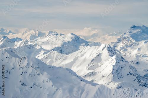 Foto auf Leinwand Dunkelgrau beautiful Alps mountain lanscape rocks under snow