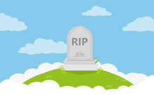 Grave Flat Icon Background Vec...