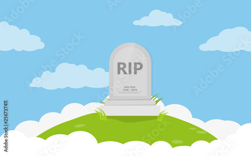 Grave flat icon background vector Wallpaper Mural