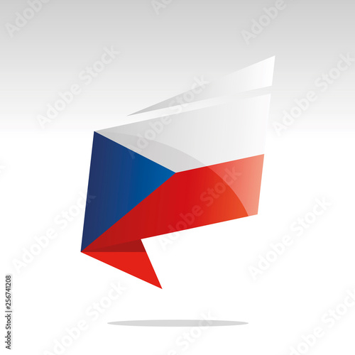 Photo  New abstract Czech Republic flag origami logo icon button label vector