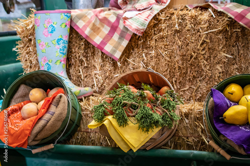 Fotografia  Vintage Farming Exhibit with a Hay Bale, Different Vegetables, and Retro Clothin