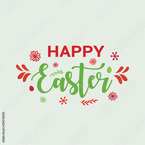 Poster Retro sign Happy Easter typography, lettering - greeting card.