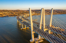 Aerial View Of The New Tappan Zee Bridge, Spanning Hudson River Between Nyack And Tarrytown On Late Sunny Afternoon