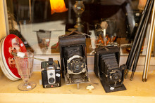 Second Hand Vintage Cameras For Sale On A Window Ledge In Arles, France