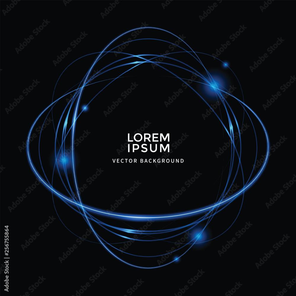 골드 라인 벡터, 원형 백그라운드, 빛 효과