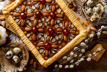 Mazurek Pastry, Traditional Polish Easter Cake Made Of Shortcrust Pastry,  Fudge Caramel Cream, Candied Fruit And Almonds, Close Up, Top View. Easter Treat