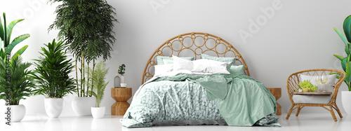 Fotografía  Tropical bedroom interior panorama, 3d render