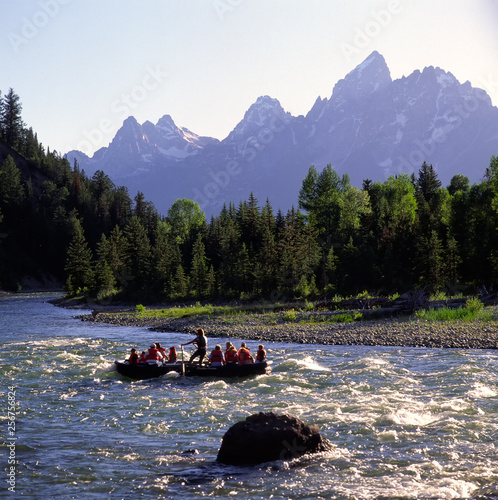 Fototapeta Rafting on Snake River;  Grand Teton National Park;  Wyoming
