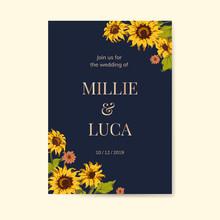Sunflower Wedding Invitation Card Template