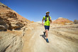 canvas print picture - Trail running in the desert