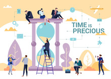 The Importance Of Time In Business Concept Flat Vector Illustration With People Gathered Around Sand Clock. Task Management And Productivity Theme With Time Is Precious Sign.