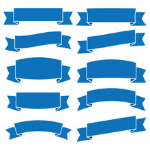 Set Of Blue Ribbon Banner Icon