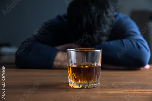 Poster Alcohol sad man hand alcohol glass