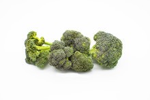 Fresh Broccoli Isolated On White Background. Broccoli Package Isolated. Fresh Broccoli Pre Packed In Plastic Package Wrapping