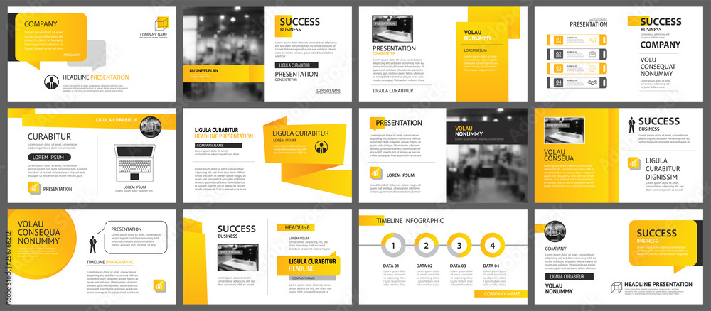Fototapety, obrazy: Presentation and slide layout background. Design yellow and orange gradient geometric template. Use for business annual report, flyer, marketing, leaflet, advertising, brochure, modern style.