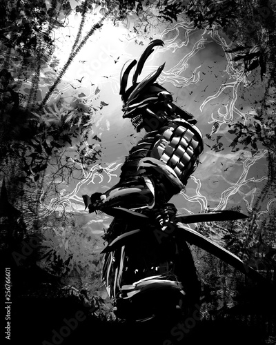 Black silhouette of a Japanese warrior against the night forest Wallpaper Mural