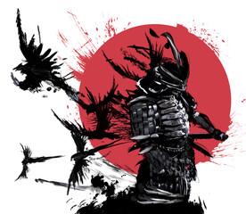Samurai stands against the ...