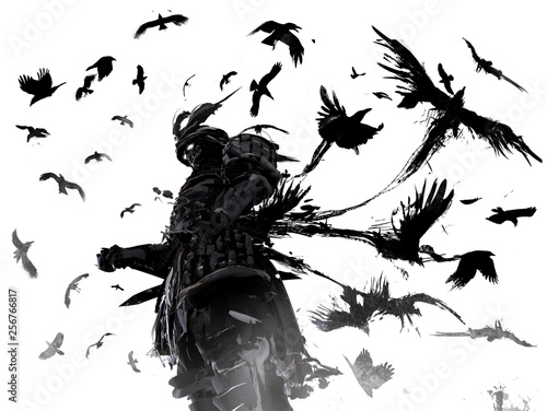 Photo  Ronin in terrible armor unwaveringly stands in a whirlwind of crows