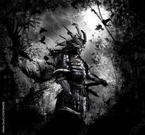 Photo The terrifying ronin stands in the forest at night