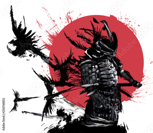Photo  Samurai stands against the red sun and a flock of crows flying out of his back