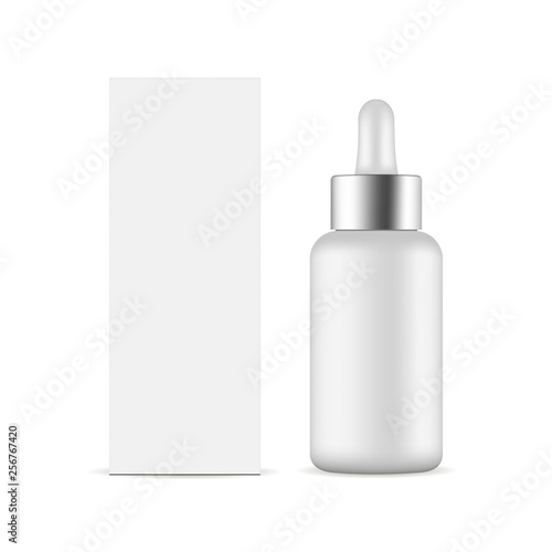 Fotomural  Dropper bottle with metal cap and packaging box mockup isolated on white background