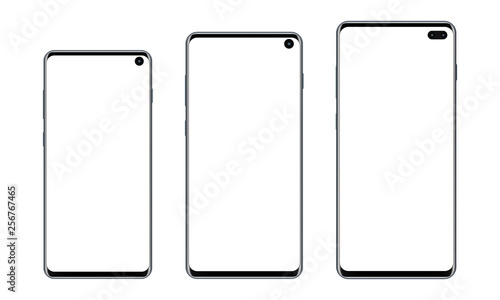 Foto  Set of modern frameless smartphones with blank screens isolated on white background