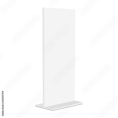 Advertising totem mockup isolated on white background - half side view. Vector illustration Fototapete