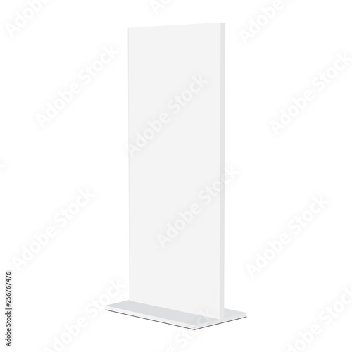 Advertising stand banner mockup isolated on white background - half side view. Vector illustration Wall mural