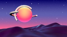 Abstract Vaporwave Background With Sun Or Hot Ball And Orbits Flying Over Alien Landscape