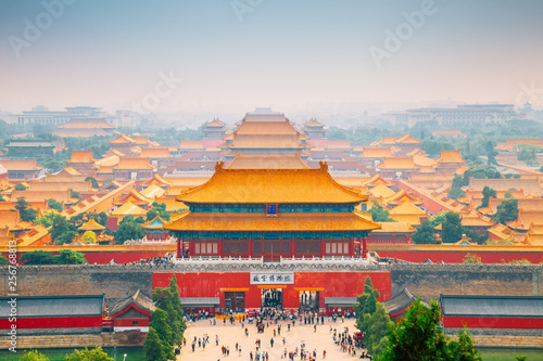 In de dag Peking Forbidden City view from Jingshan Park in Beijing, China