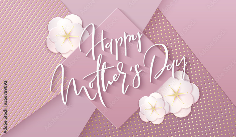 Fototapety, obrazy: Vector illustration of mother's day greetings banner template with paper spring apple flowers and hand lettering quote - happy mothers day