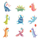 Fototapeta Dino - Collection of Cute Colorful Dinosaurs in Party Hats, Funny Blue Dino Characters, Happy Birthday Party Design Elements Vector Illustration