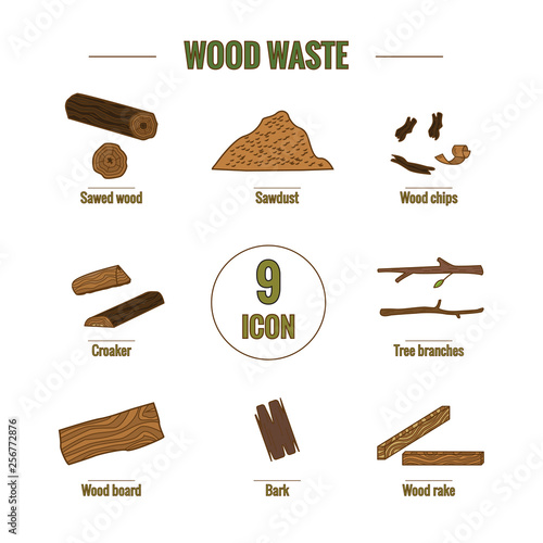Line style icon collection - wood waste elements. Fototapet