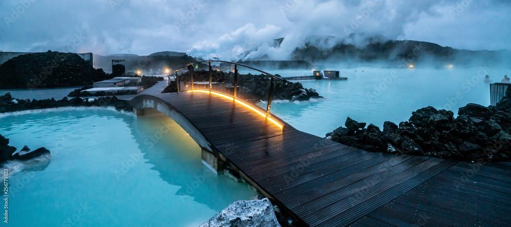 Fototapeta Geothermal Spa Blue Lagoon in Reykjavik, Iceland.