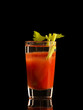 Bloody Mary cocktail drink isolated on black background