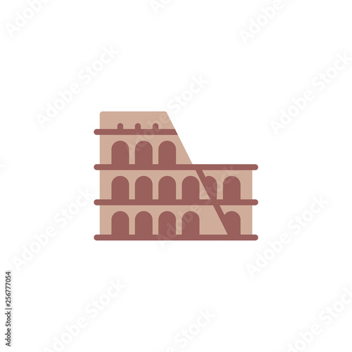 Coliseum rome architecture flat icon, vector sign, colosseum building landmark colorful pictogram isolated on white Canvas Print